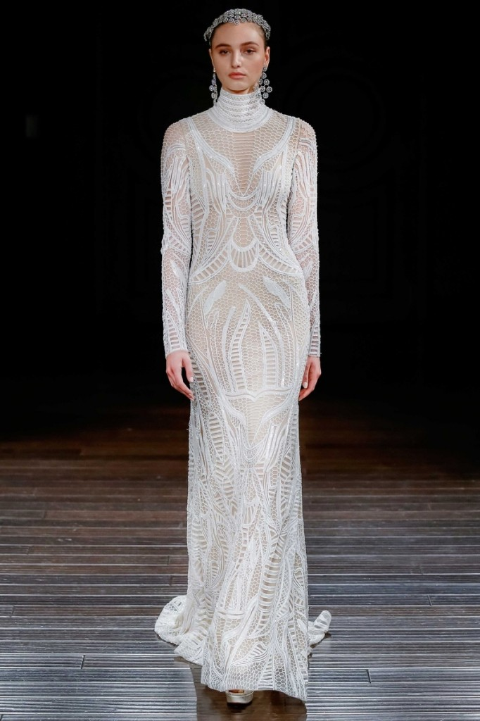 Sacks Productions_Favorite Looks_Luxor ivory honeycomb-embroidered high-neck long sleeve gown with open back by Naeem Khan.