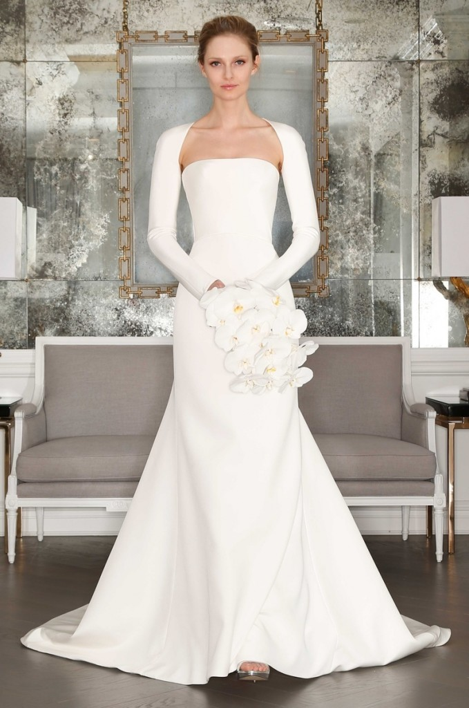 Sacks Productions_Favorite Looks_Pearl silk crepe strapless A-line gown with an asymmetrical shrug by Romona Keveza Collection Bridal.