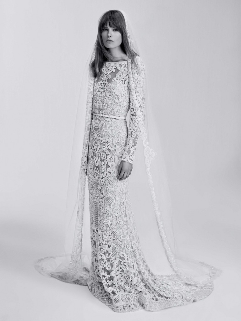 Sacks Productions_Favorite Looks_Long mermaid lace dress fully embroidered with sequins, pearls, and beads with long sleeves, boat neck, and deep V open back by Elie Saab.