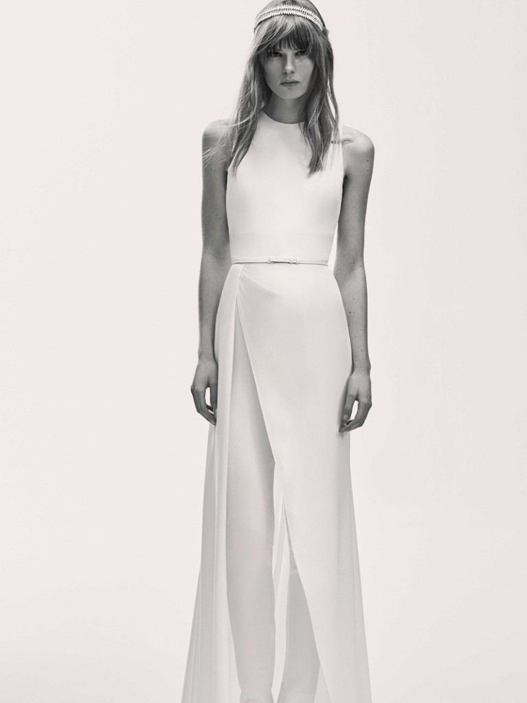 Sacks Productions_Favorite Looks_by Elie Saab - Crepe sleeveless jumpsuit with open cuts at the back and an open skirt overlay.